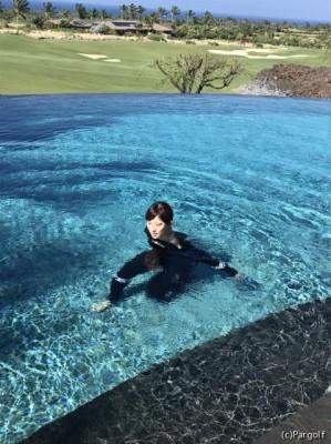 いえ、プールでも必死に練習しています! 写真・本人提供